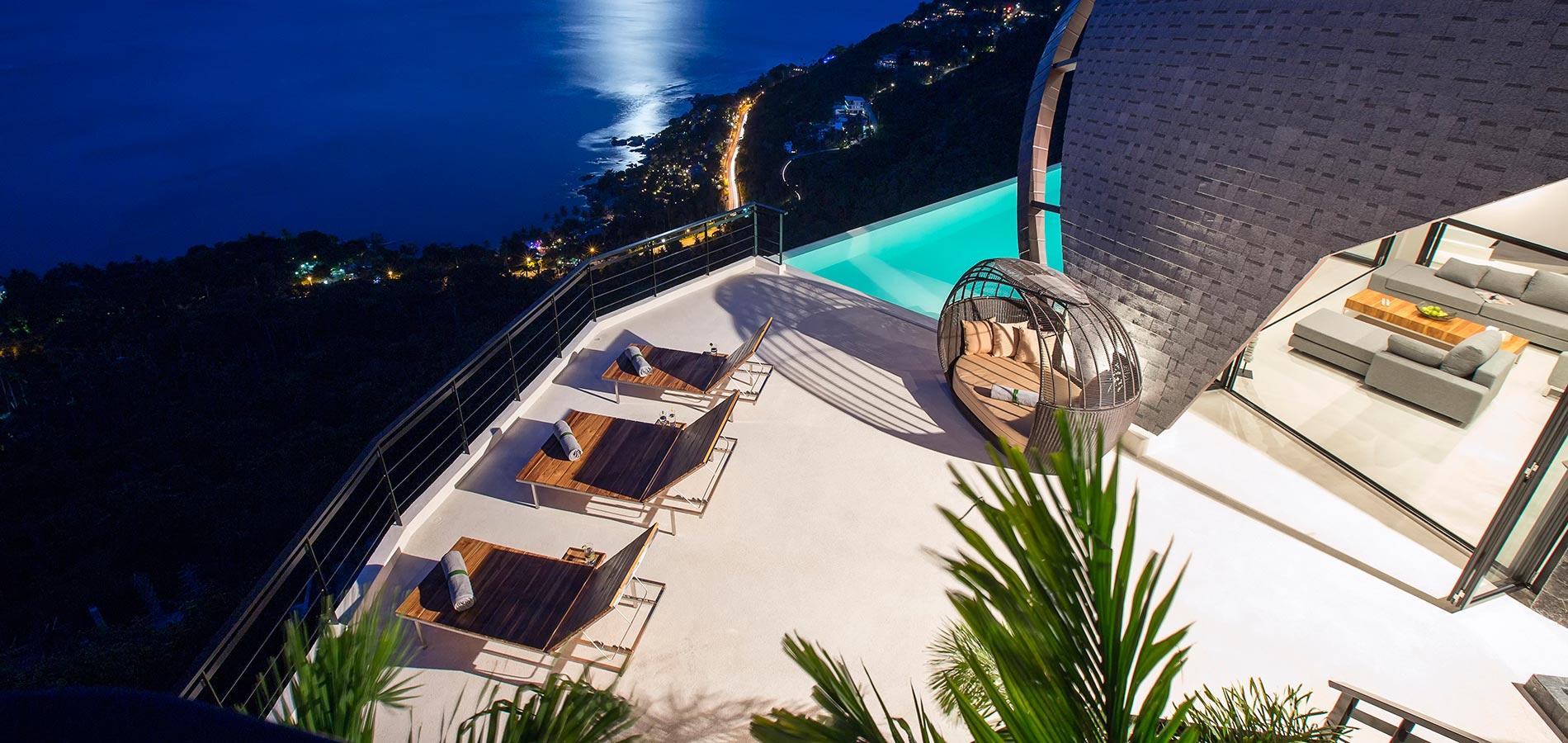 Terrace at Night at Villa Moon Shadow Samui